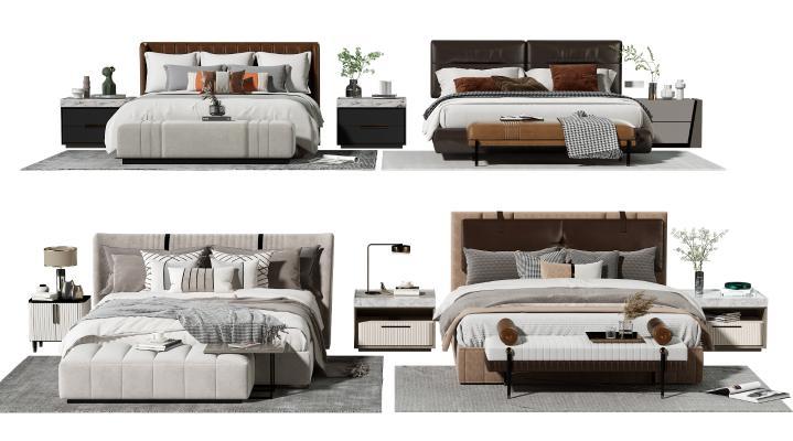 现代双人床 床头柜 床尾凳 花瓶 脚踏 床上用品