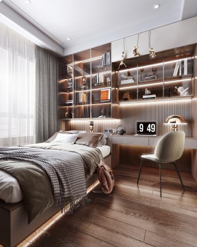 现代榻榻米卧室 书桌 书柜