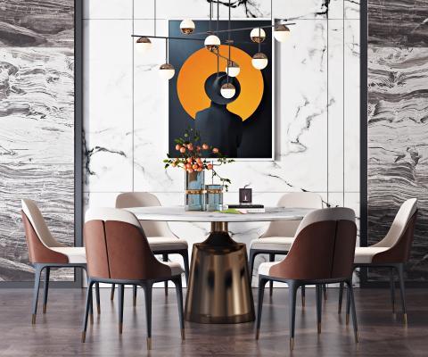 现代餐桌椅组合 吊灯 花瓶饰品组合