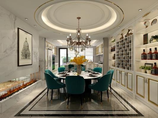 美式餐厅 餐桌 吊灯