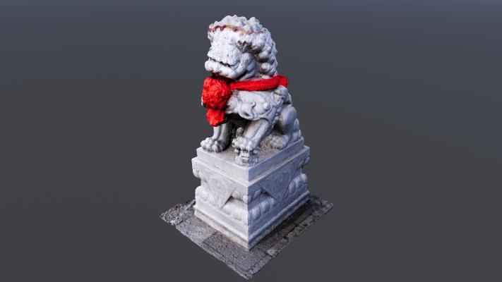 红花狮子雕塑