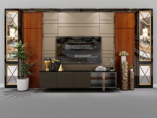 新古典电视柜 电视背景墙