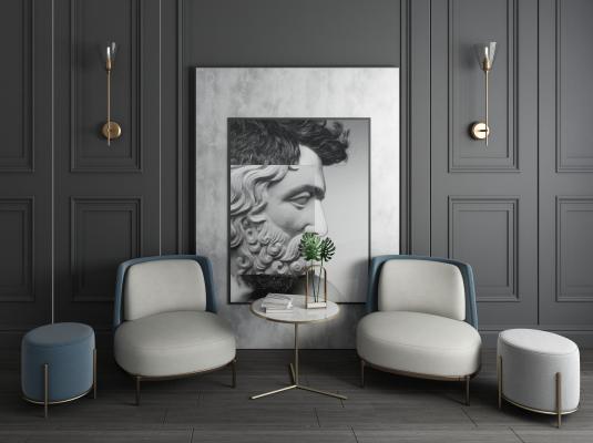 現代簡約休閑布藝沙發椅圓椅單人椅圓幾裝飾畫壁燈組合