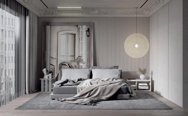 简欧卧室 吊灯 地毯