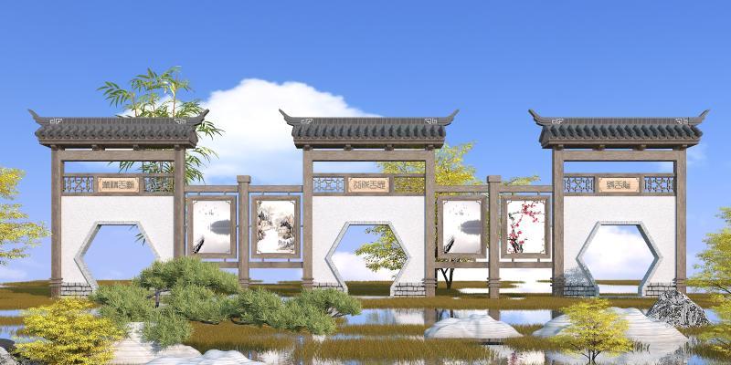 中式园林景观墙