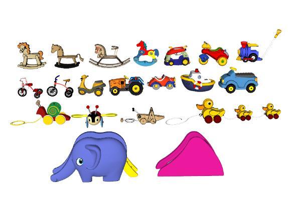 现代儿童玩具车 小马滑滑梯