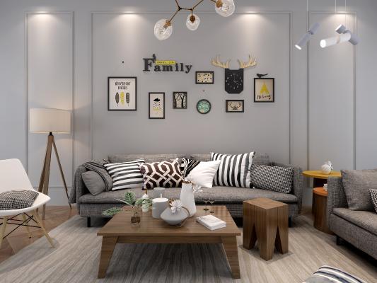 北欧照片墙组合画沙发茶几组合