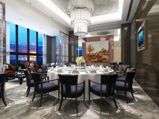 现代风格餐厅包间 沙发 茶几