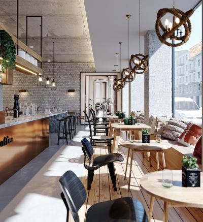 工业风咖啡馆 吧台