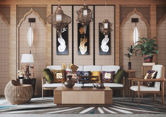 东南亚组合沙发 背景墙 吊灯