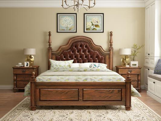 美式軟包床 床頭柜