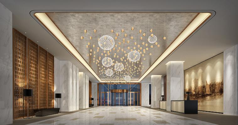 新中式酒店大堂 时尚