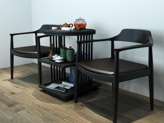 新中式休闲茶桌椅 茶具 茶台