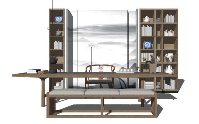 新中式休闲茶桌椅 展示柜