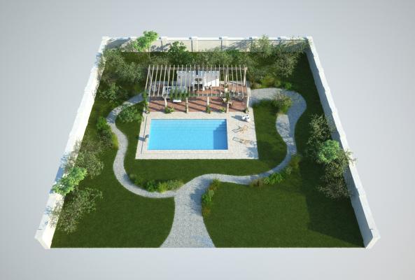 现代鸟瞰规划 花园泳池
