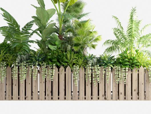 现代植物盆栽 盆景 围栏