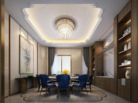 现代奢华别墅套房餐厅