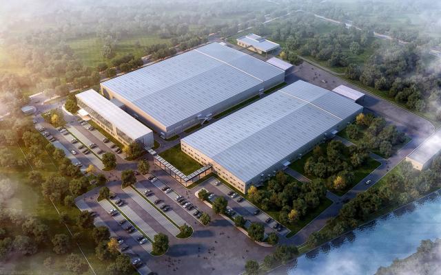 现代厂房 工业厂房 厂区 办公楼 建筑外观