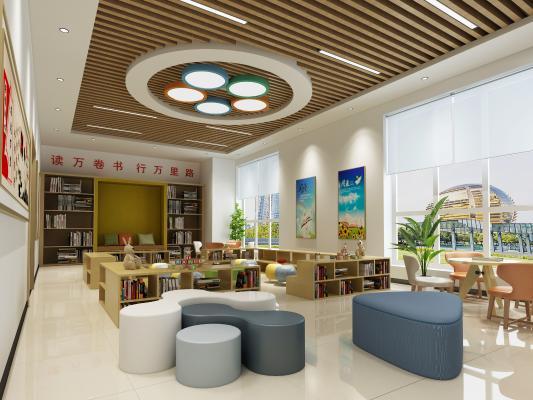 现代图书馆 吊灯 挂画