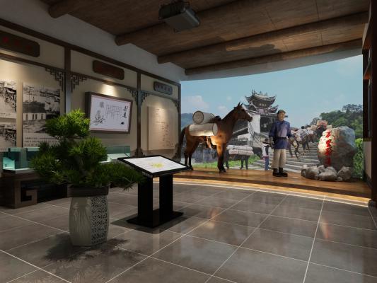 茶文化展馆中式花格马匹硅胶古人