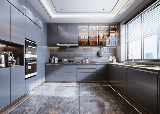 现代风格厨房橱柜 油烟机 灶具 蒸烤箱