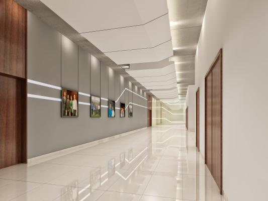 现代简约科技感走廊过道 挂画