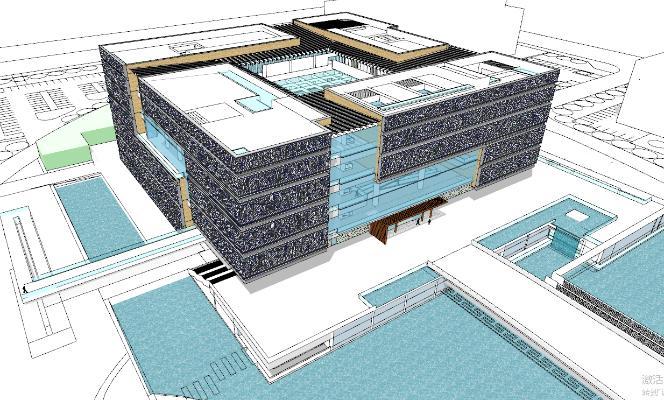 现代办公楼 教学楼 图书馆建筑