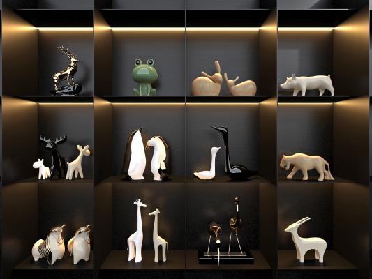 現代飾品擺件,豬,企鵝鹿工藝品擺件組合,