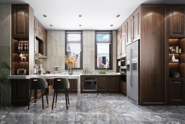 新中式厨房橱柜 吧台 装饰柜