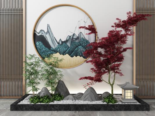 新中式景观小品 松树假山