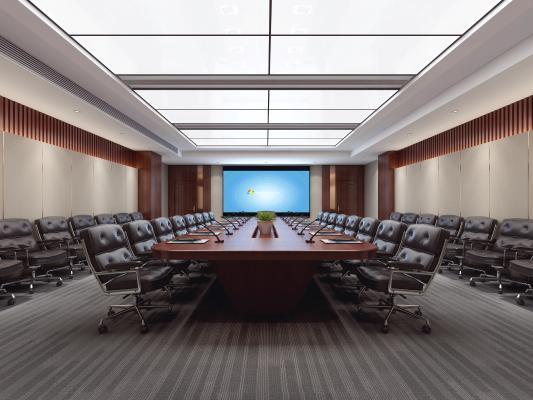 新中式会议室 会议桌 办公室