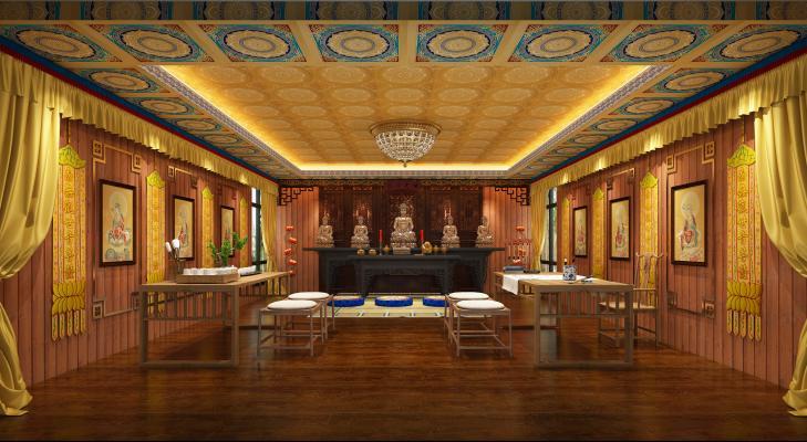 中式佛堂 佛像 茶桌