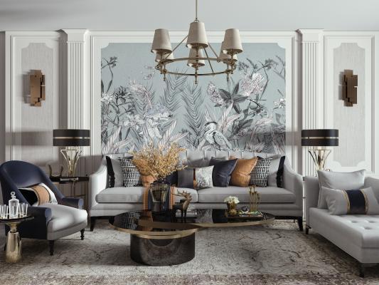 美式沙发茶几组合 吊灯 多人沙发 单人椅