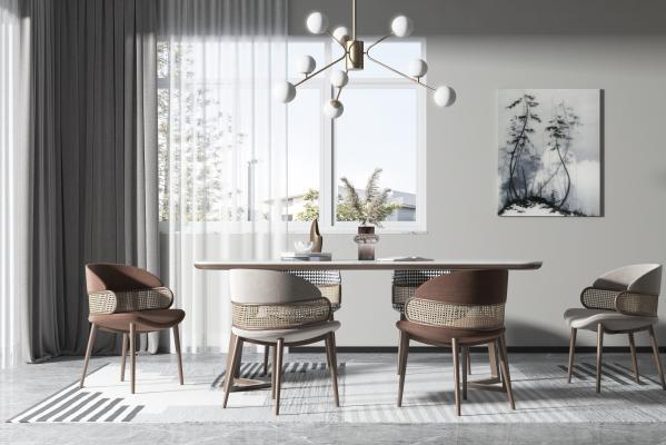 现代木质餐桌椅