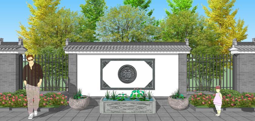 中式庭院花園景墻水缸