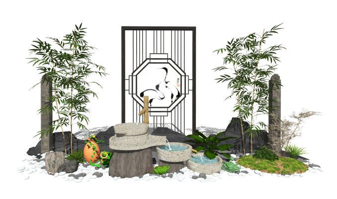 新中式庭院景观 景观小品 跌水景观 隔断