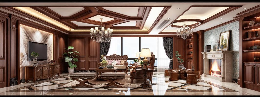 欧式古典客餐厅组合 茶台 吊灯 挂画 壁炉 电视柜