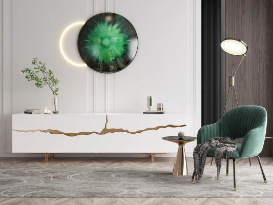 意大利REFLEX现代单椅边柜组合