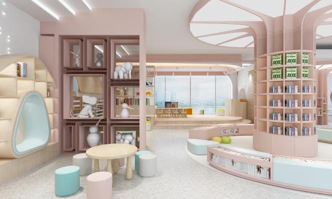 现代幼儿园 图书室 书架 凳子