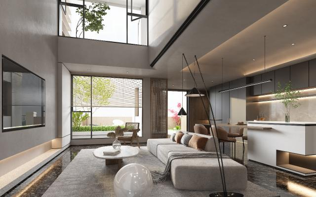 现代别墅客厅 吧台