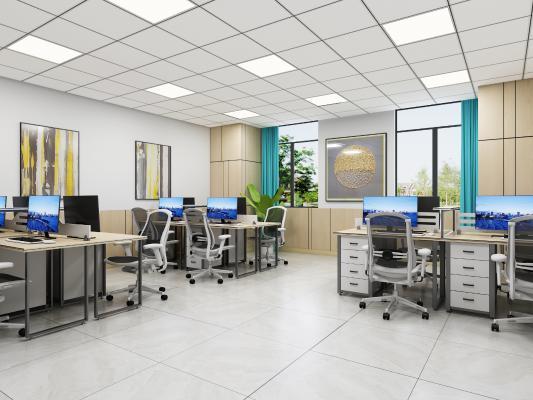 现代简约办公室 挂画 办公桌椅