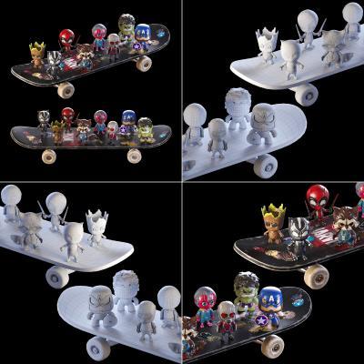现代儿童滑板卡通人偶组合