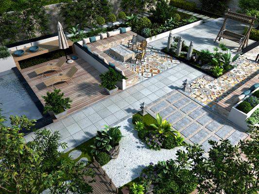 现代庭院花园 鸟瞰