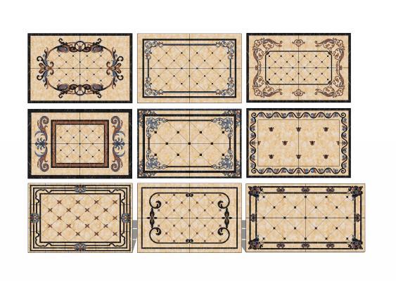 欧美魔方砖地面拼花砖组合