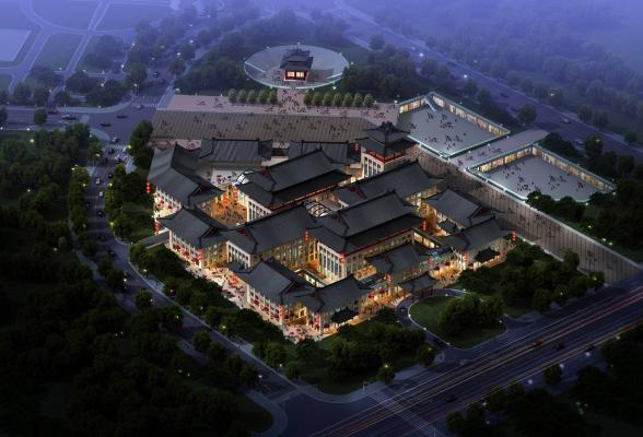 中式商业街酒店 会所建筑外观