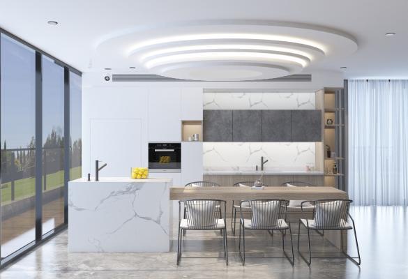 现代开放式餐厅 厨房