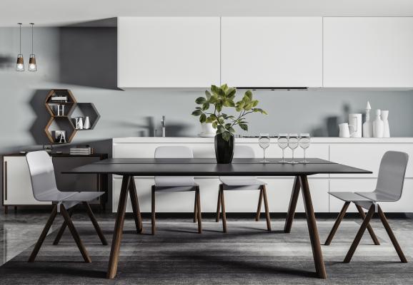 北欧餐桌椅 摆件组合 长条餐桌