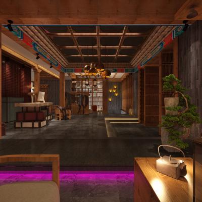 新中式风格接待台大堂