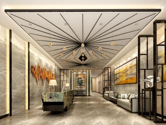 新中式酒店大堂 沙发