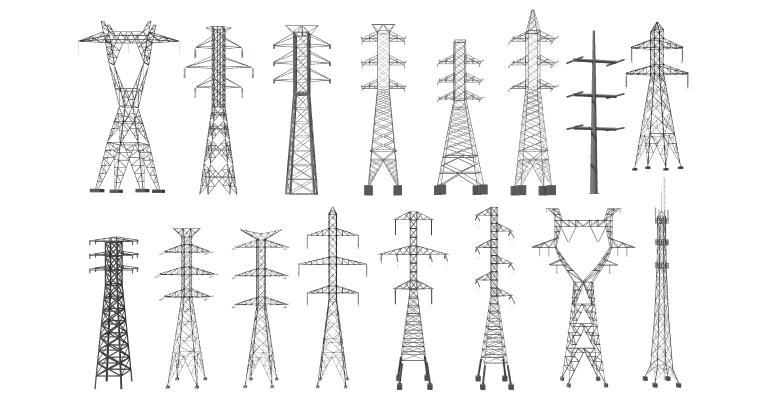 现代高压电塔组合 铁塔 输电塔